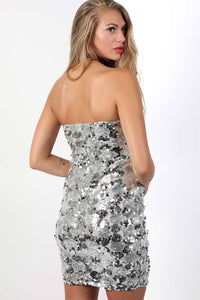 Sequin Bandeau Mini Dress in Silver 2