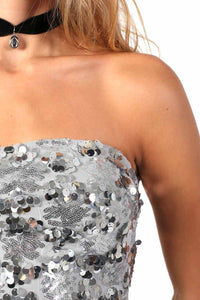 Sequin Bandeau Mini Dress in Silver 3