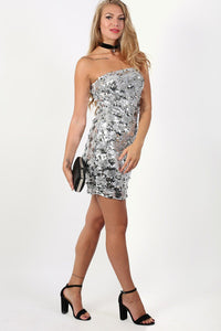 Sequin Bandeau Mini Dress in Silver 4