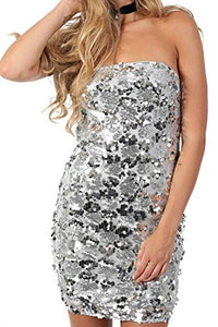 Sequin Bandeau Mini Dress in Silver