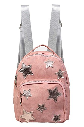 Faux Leather Star Detail Backpack in Dusty Pink