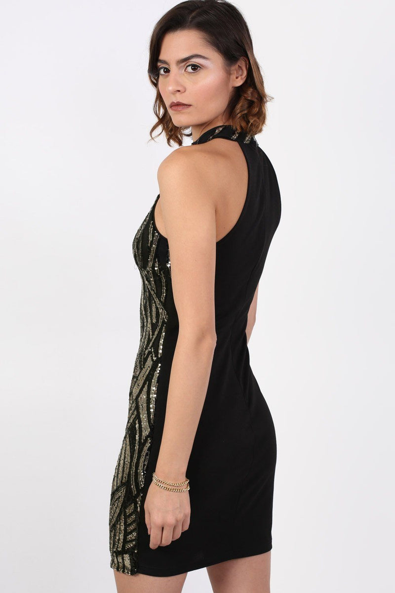 Sleeveless Sequin Bodycon Mini Dress in Black 2