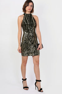 Sleeveless Sequin Bodycon Mini Dress in Black 3
