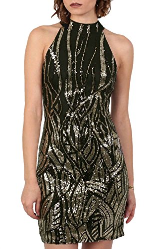 Sleeveless Sequin Bodycon Mini Dress in Black