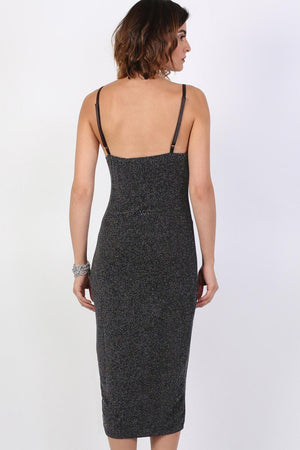 Strappy Glitter Lurex Front Split Bodycon Midi Dress in Black 2