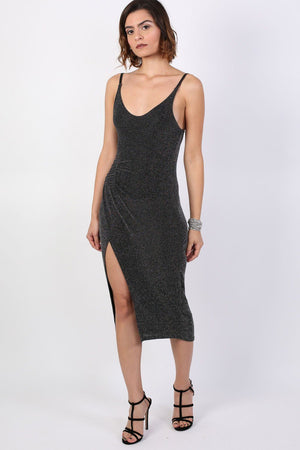 Strappy Glitter Lurex Front Split Bodycon Midi Dress in Black 3