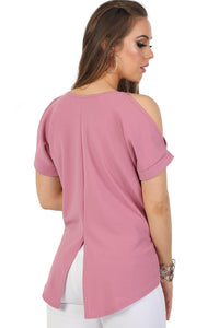 Plain High Low Hem Cold Shoulder Top in Dusty Pink 2