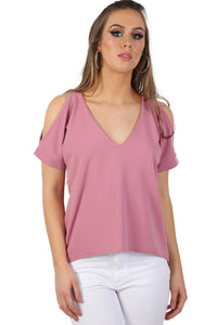 Plain High Low Hem Cold Shoulder Top in Dusty Pink 3