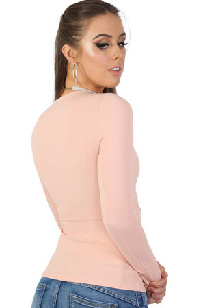 Plain Wrap Front V Neck Long Sleeve Top in Pale Pink 2