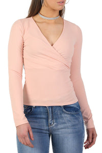 Plain Wrap Front V Neck Long Sleeve Top in Pale Pink 4