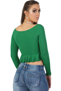 Ruched Front Ribbed Long Sleeve Frill Hem Crop Top in Emerald Green 2