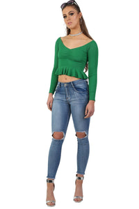 Ruched Front Ribbed Long Sleeve Frill Hem Crop Top in Emerald Green 3