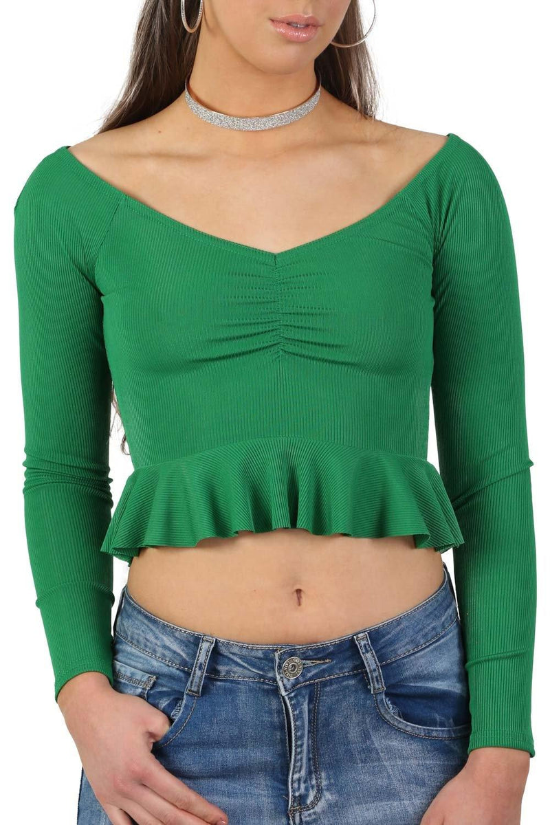 Ruched Front Ribbed Long Sleeve Frill Hem Crop Top in Emerald Green 4