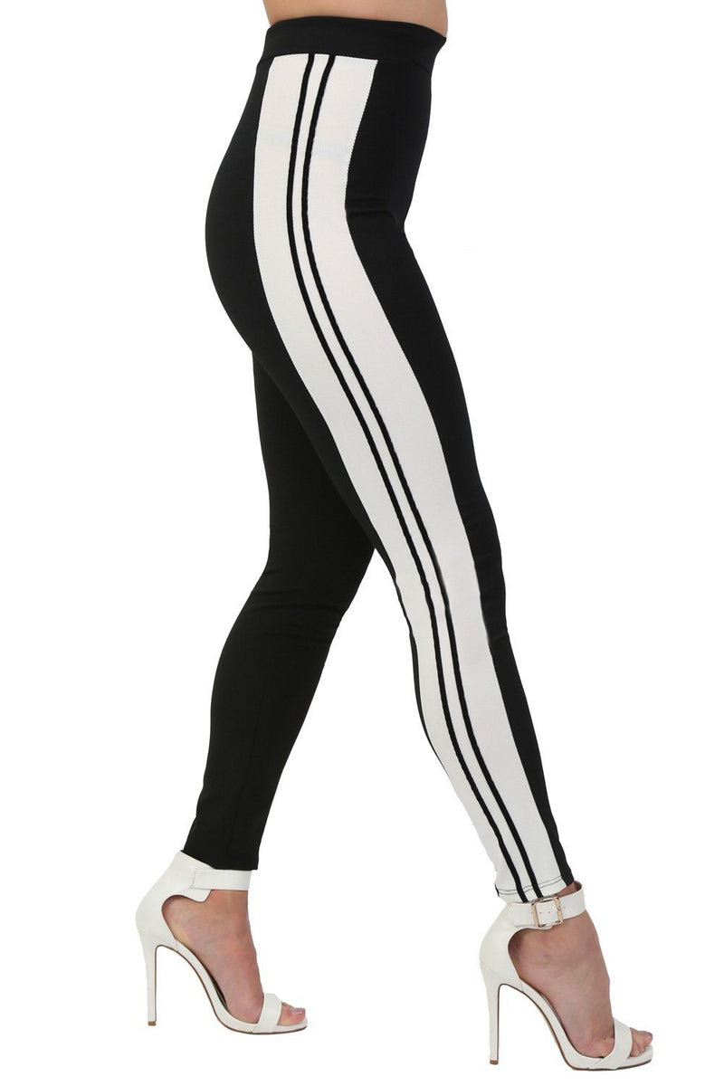 Stripe Detail Slim Leg Jogger Bottoms in Black 1