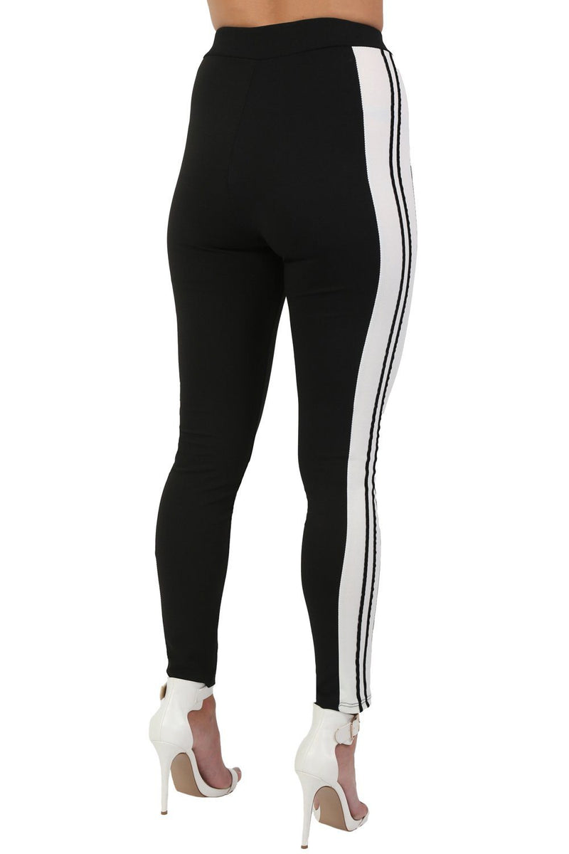 Stripe Detail Slim Leg Jogger Bottoms in Black 2