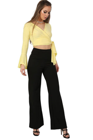 Plain High Waisted Wide Leg Trousers in Black 4