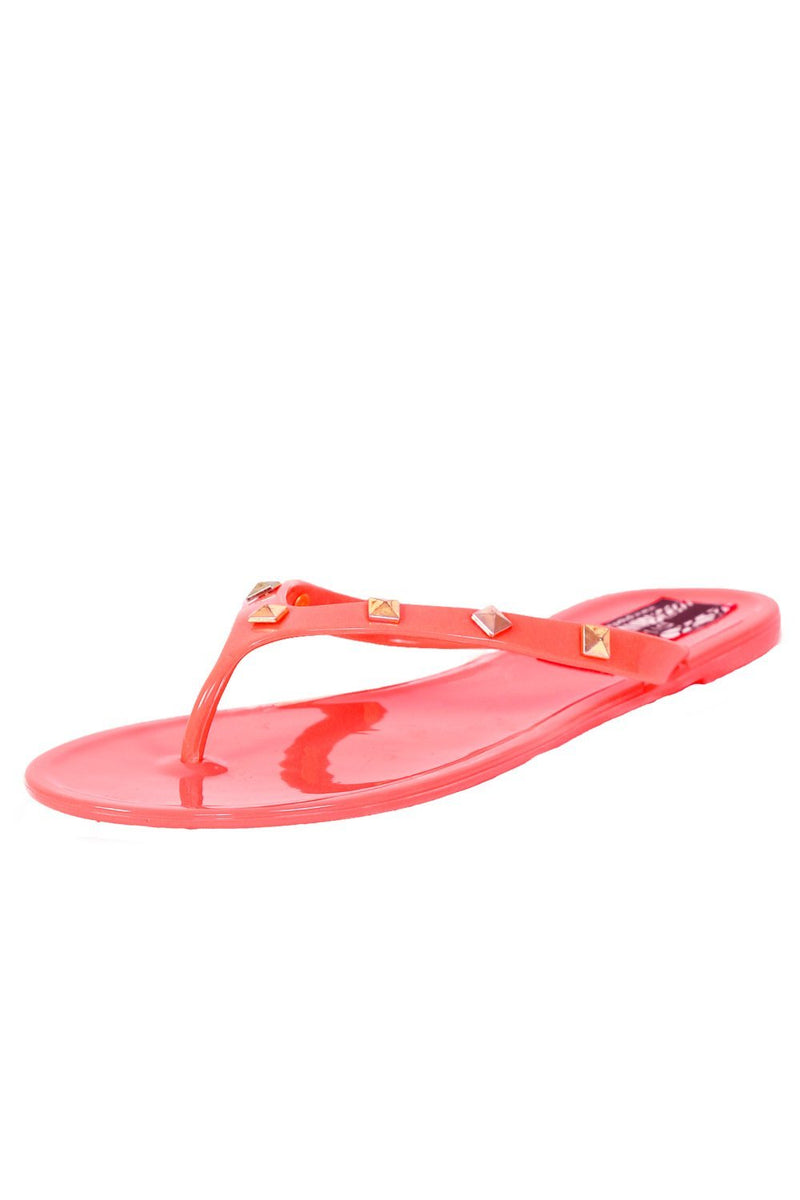 Flat Stud Detail Jelly Sandals in Coral 3