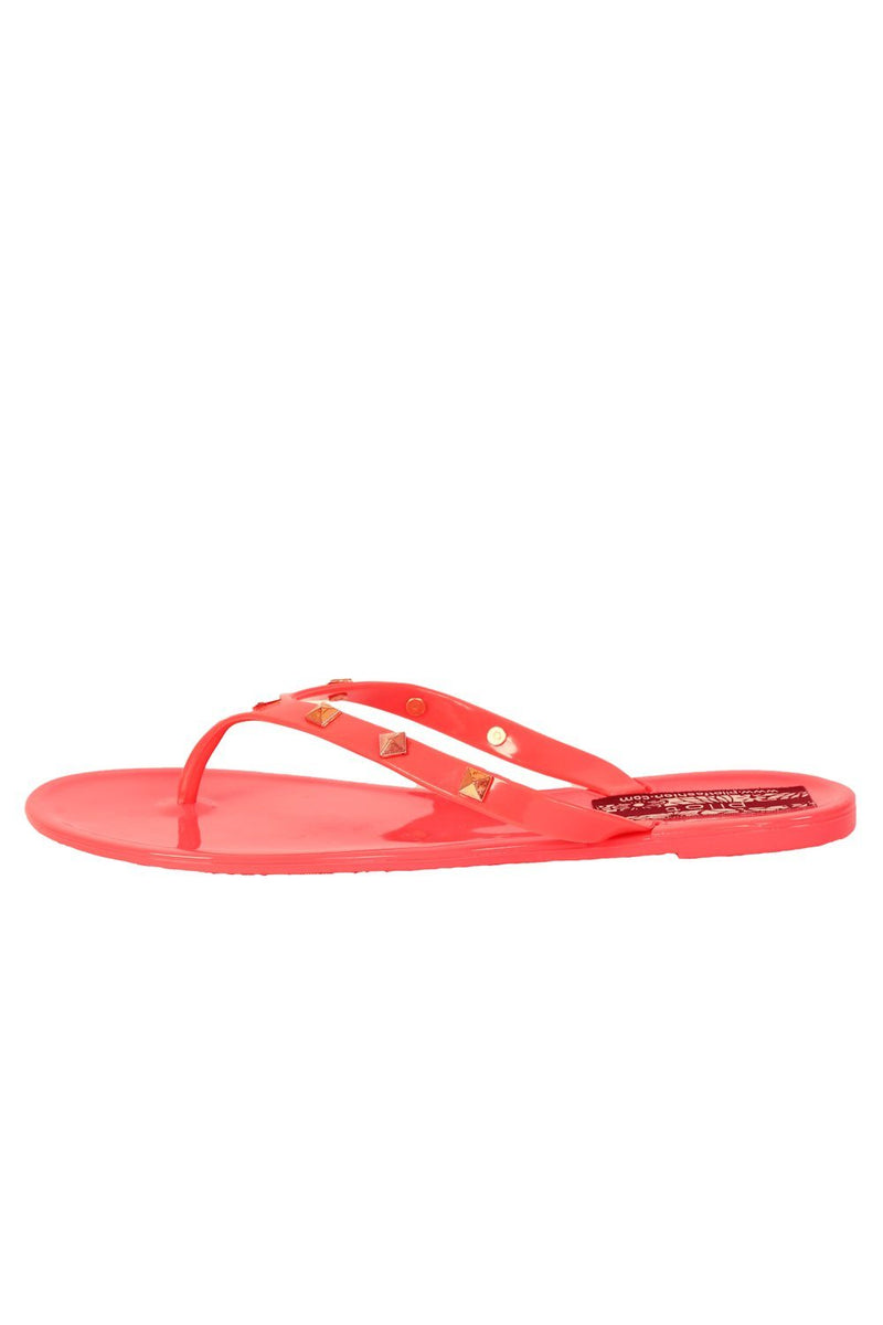 Flat Stud Detail Jelly Sandals in Coral 4