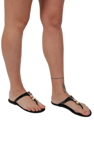 Flat Inca Detail Toe Post Jelly Sandals in Black 1