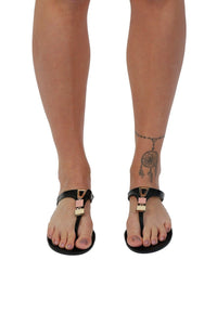 Flat Inca Detail Toe Post Jelly Sandals in Black 2