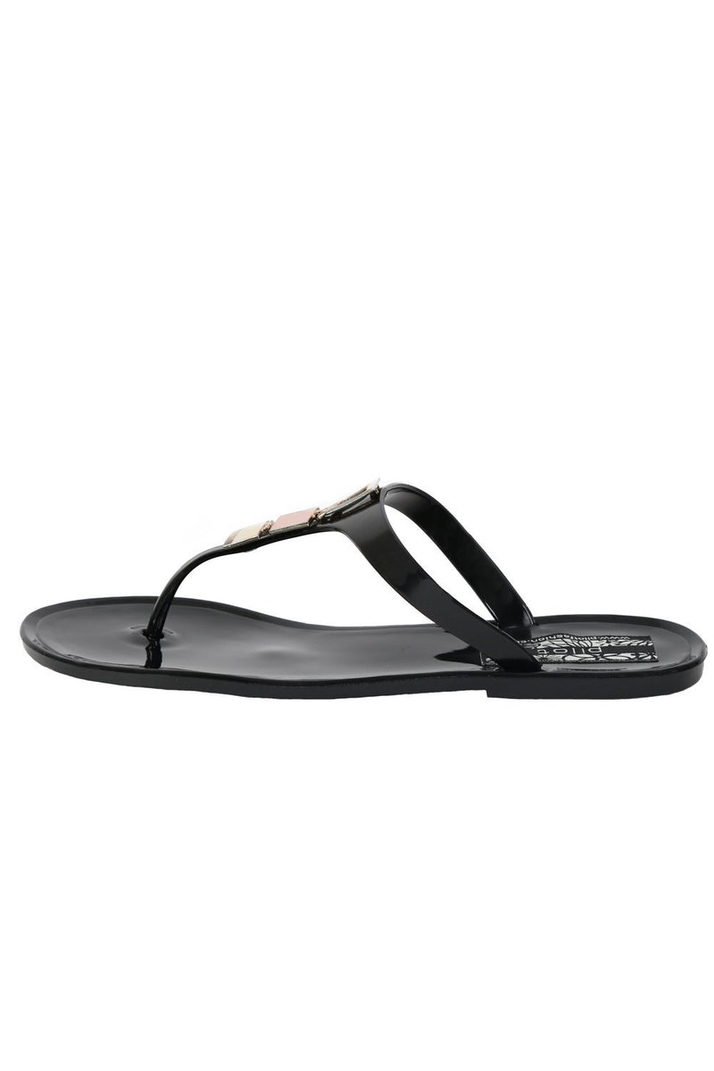 Flat Inca Detail Toe Post Jelly Sandals in Black 5