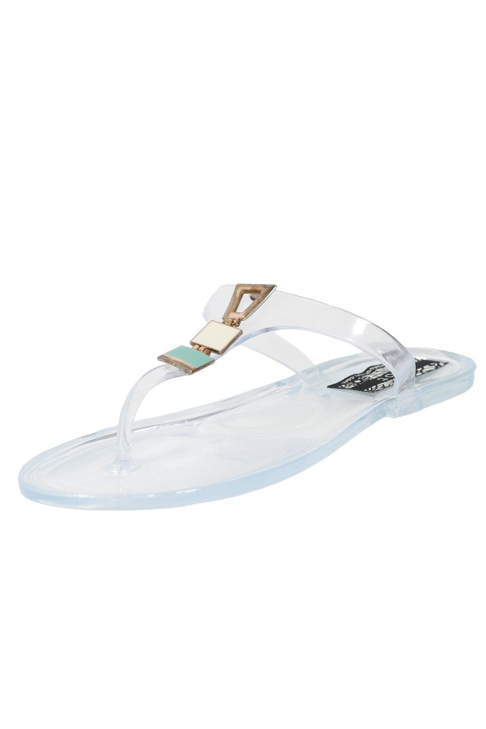 Flat Inca Detail Toe Post Jelly Sandals in Transparent 3