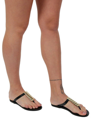 Chevron Detail Toe Post Flat Jelly Sandals in Black 2