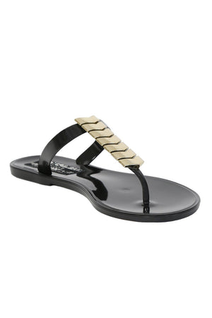 Chevron Detail Toe Post Flat Jelly Sandals in Black 3