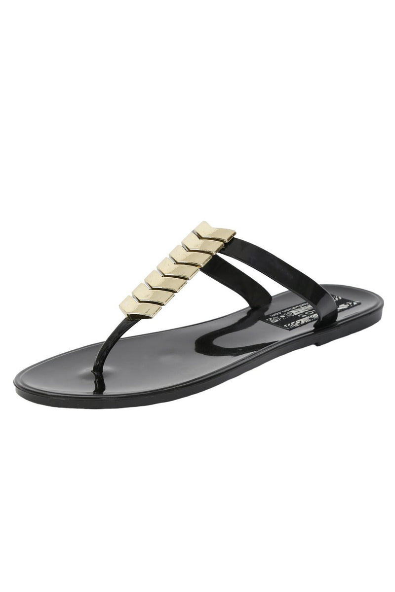 Chevron Detail Toe Post Flat Jelly Sandals in Black 4