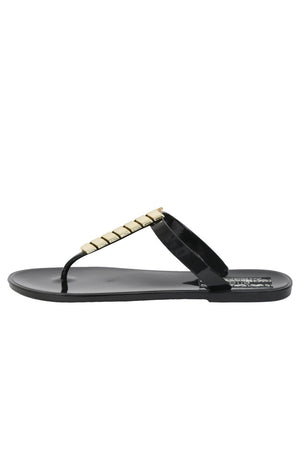 Chevron Detail Toe Post Flat Jelly Sandals in Black 5