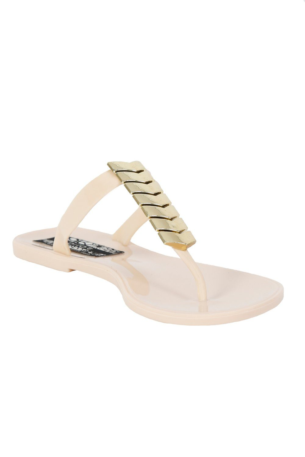 Chevron Detail Toe Post Flat Jelly Sandals in Beige 3
