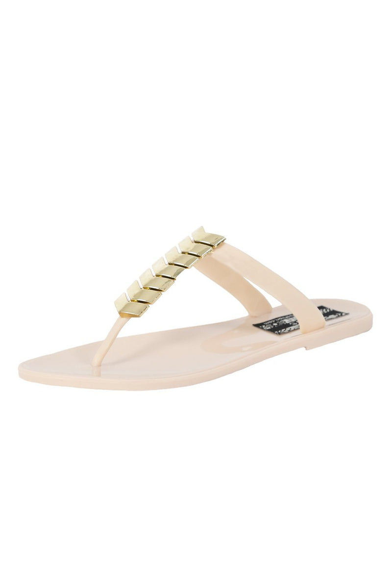 Chevron Detail Toe Post Flat Jelly Sandals in Beige 4