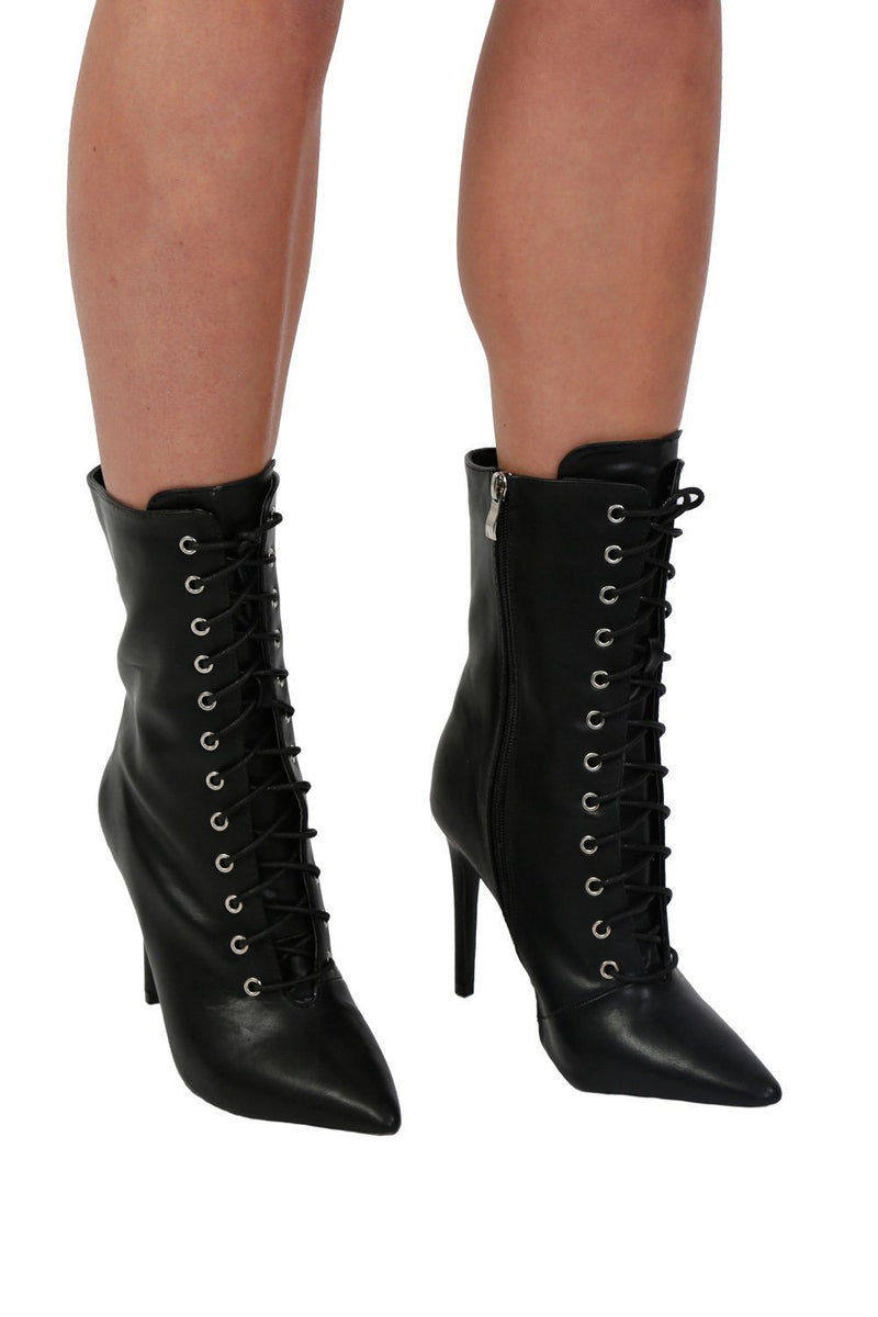 Pointed Toe Lace Up Detail High Heel Ankle Boots in Black 1