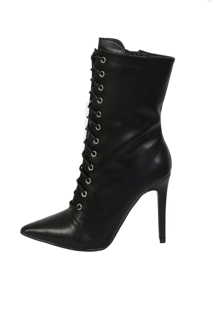Pointed Toe Lace Up Detail High Heel Ankle Boots in Black 3