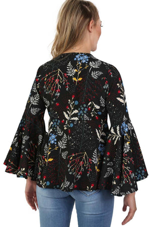 Floral Print Bell Sleeve Tie Detail Smock Top in Black 4