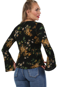 Fluted Long Sleeve Multi Flower Print Wrap Front Peplum Frill Top in Black 5