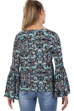 Oriental Floral Print Bell Sleeve Tie Detail Top in Navy Blue 4