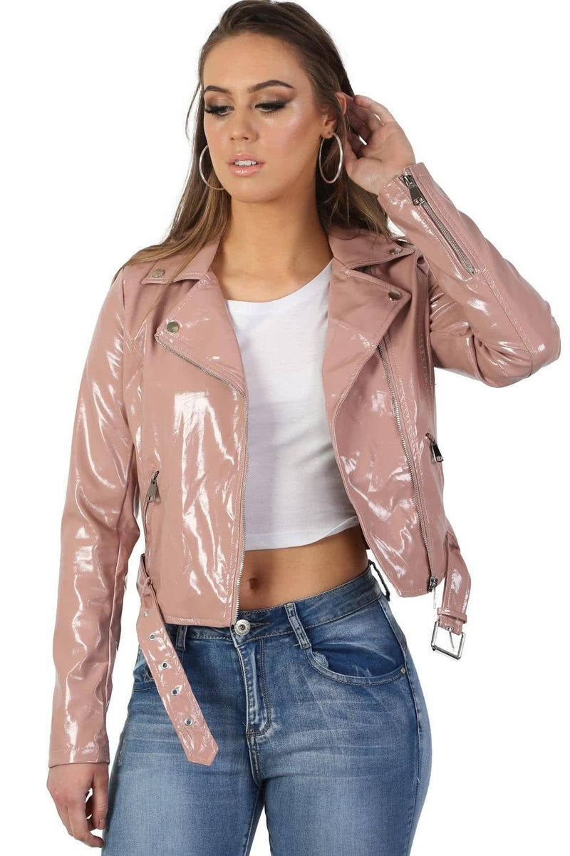 Patent Belted Biker Jacket in Dusty Pink 1