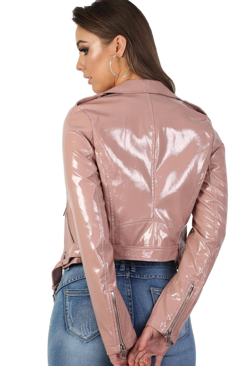 Patent Belted Biker Jacket in Dusty Pink 2