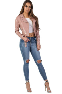 Patent Belted Biker Jacket in Dusty Pink 3