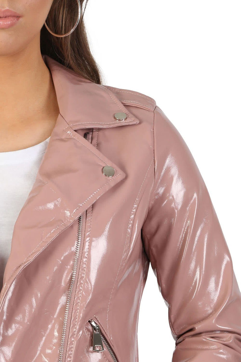 Patent Belted Biker Jacket in Dusty Pink 4