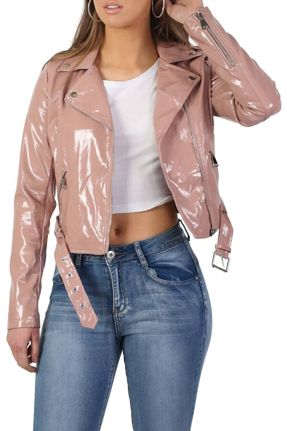 Patent Belted Biker Jacket in Dusty Pink 5