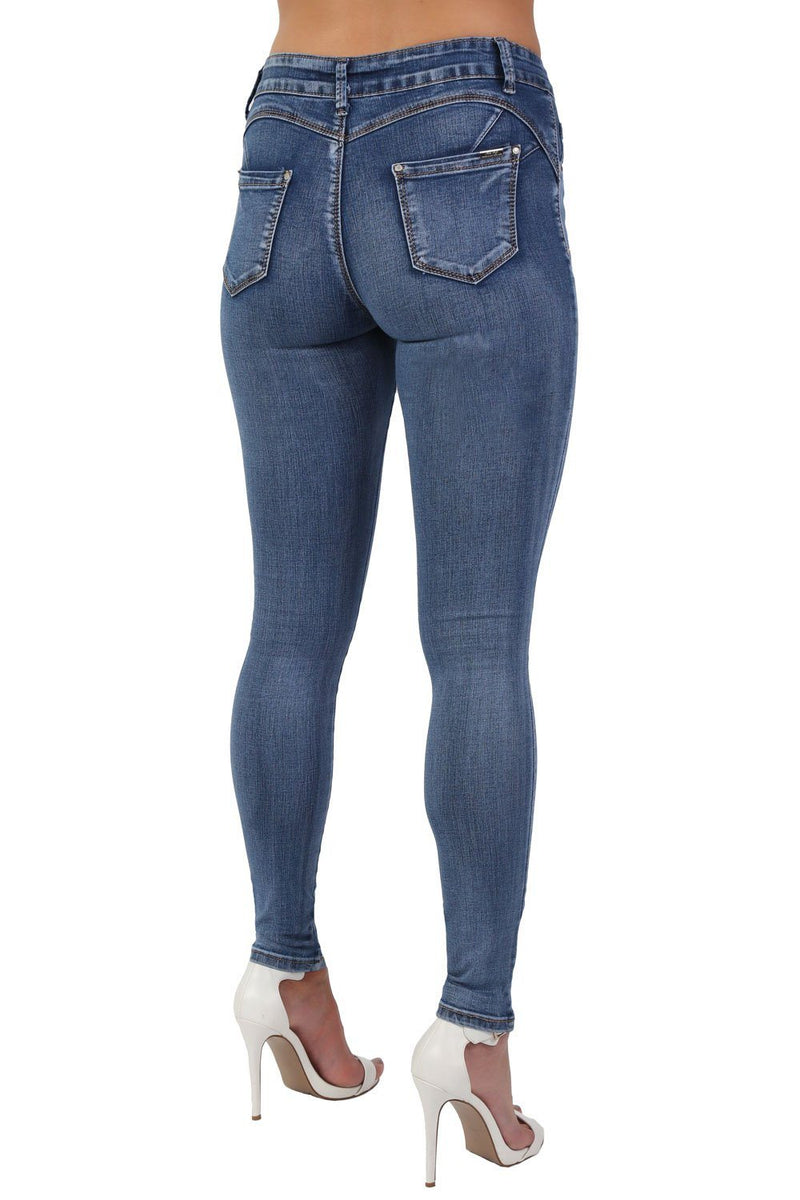 Denim Plain Stretch Skinny Jeans in Denim 2