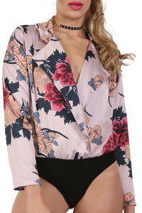 Collared Satin Floral Wrap Bodysuit in Dusty Pink