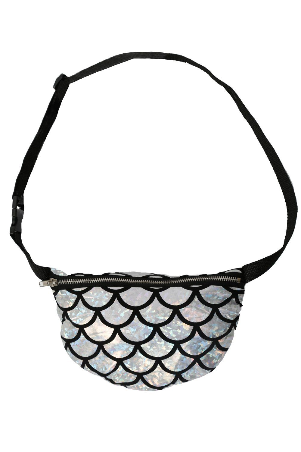Mermaid Scale Print Bum Bag in Silver 4