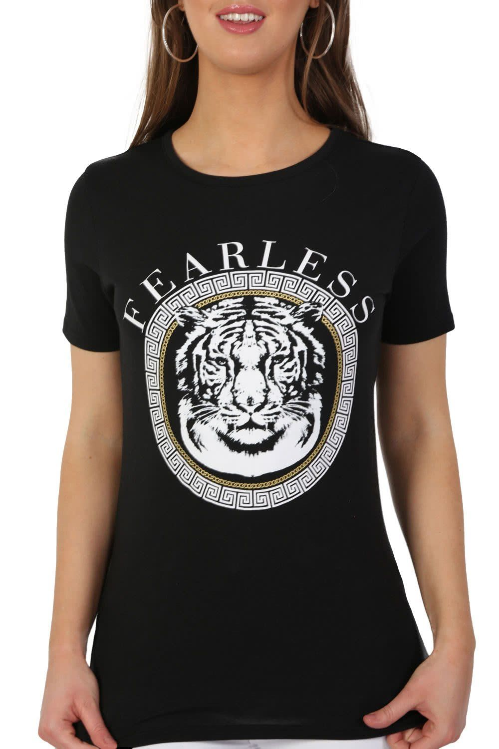 Fearless Slogan Print Tiger Motif Short Sleeve T-Shirt in Black 5