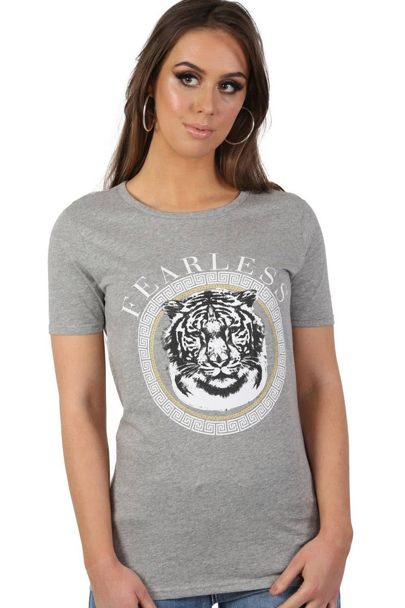 Fearless Slogan Print Tiger Motif Short Sleeve T-Shirt in Grey 2