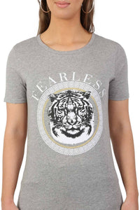 Fearless Slogan Print Tiger Motif Short Sleeve T-Shirt in Grey 5