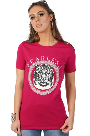 Fearless Slogan Print Tiger Motif Short Sleeve T-Shirt in Magenta Pink 2