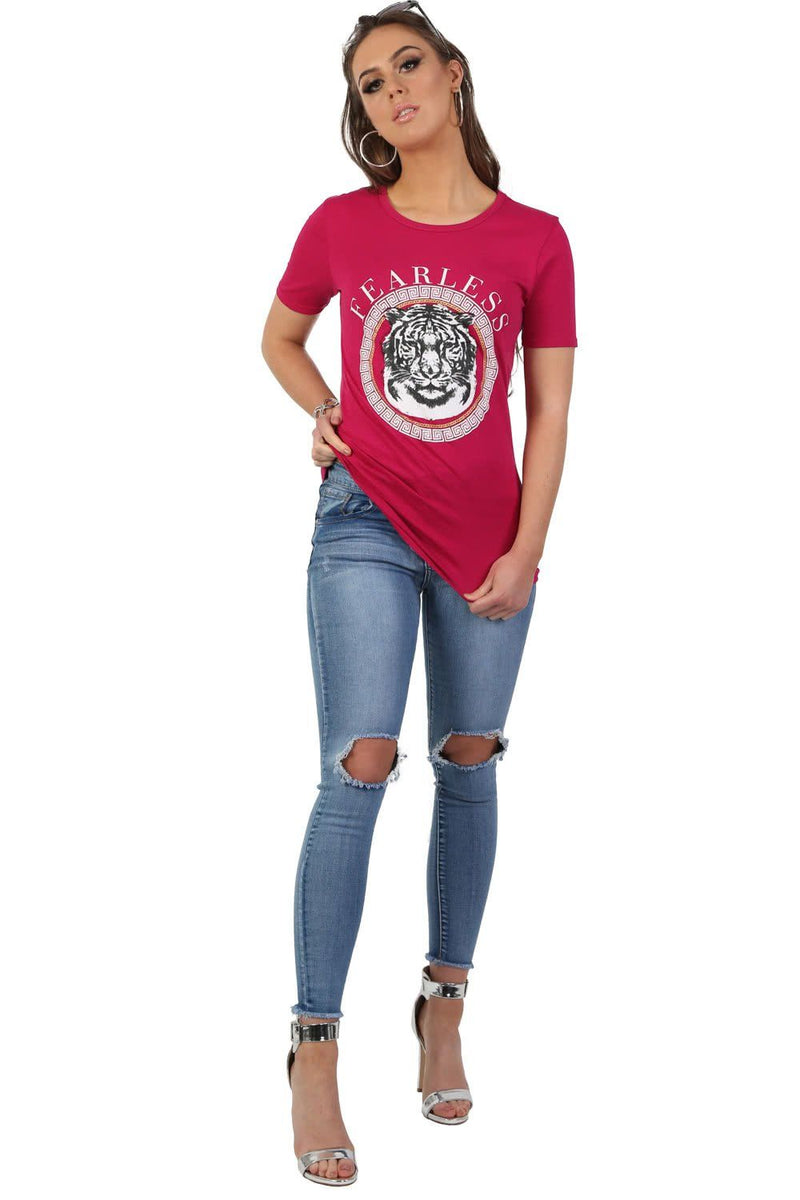 Fearless Slogan Print Tiger Motif Short Sleeve T-Shirt in Magenta Pink 4